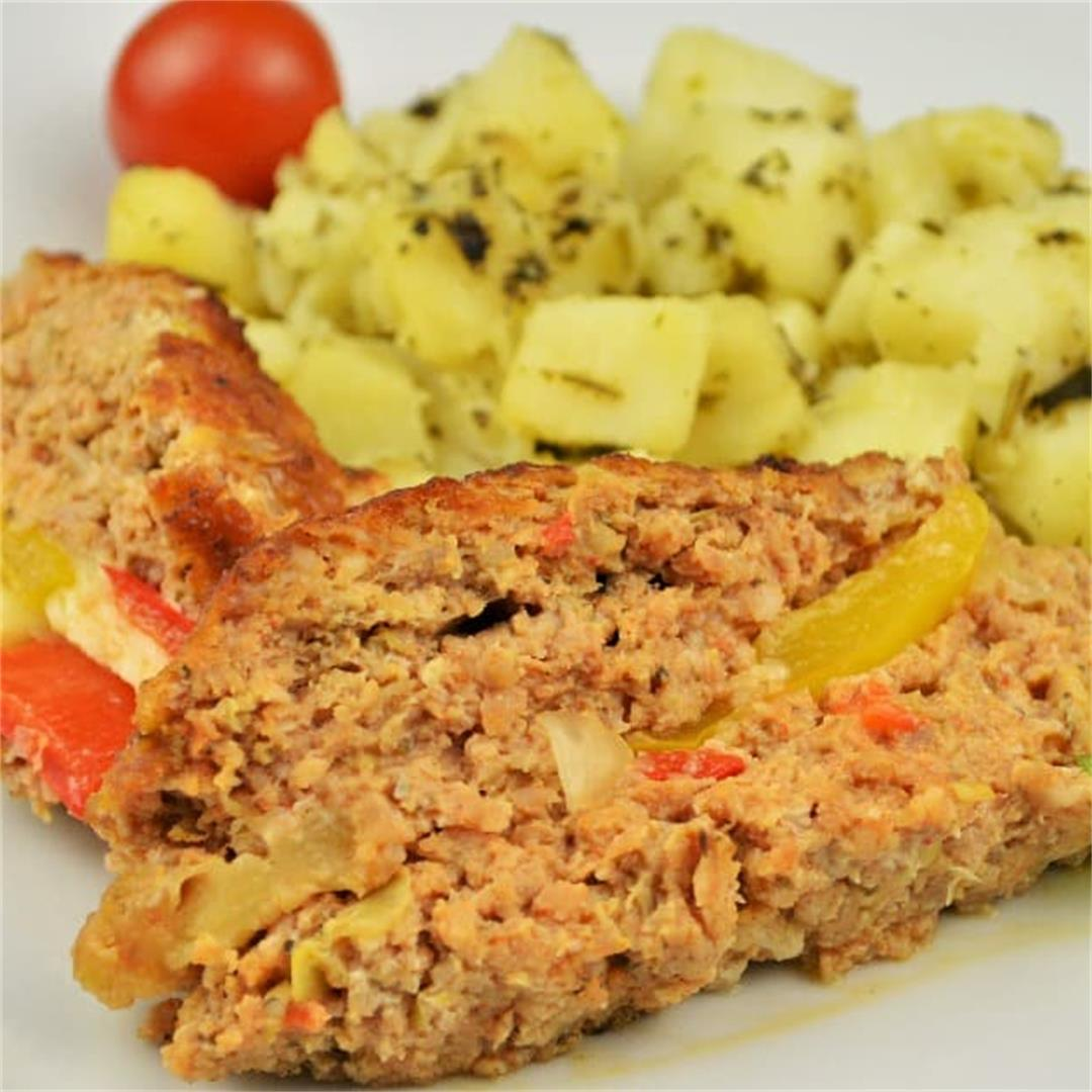 Basic Easy Meatloaf Recipe-Stuffed With Cheese and Peppers