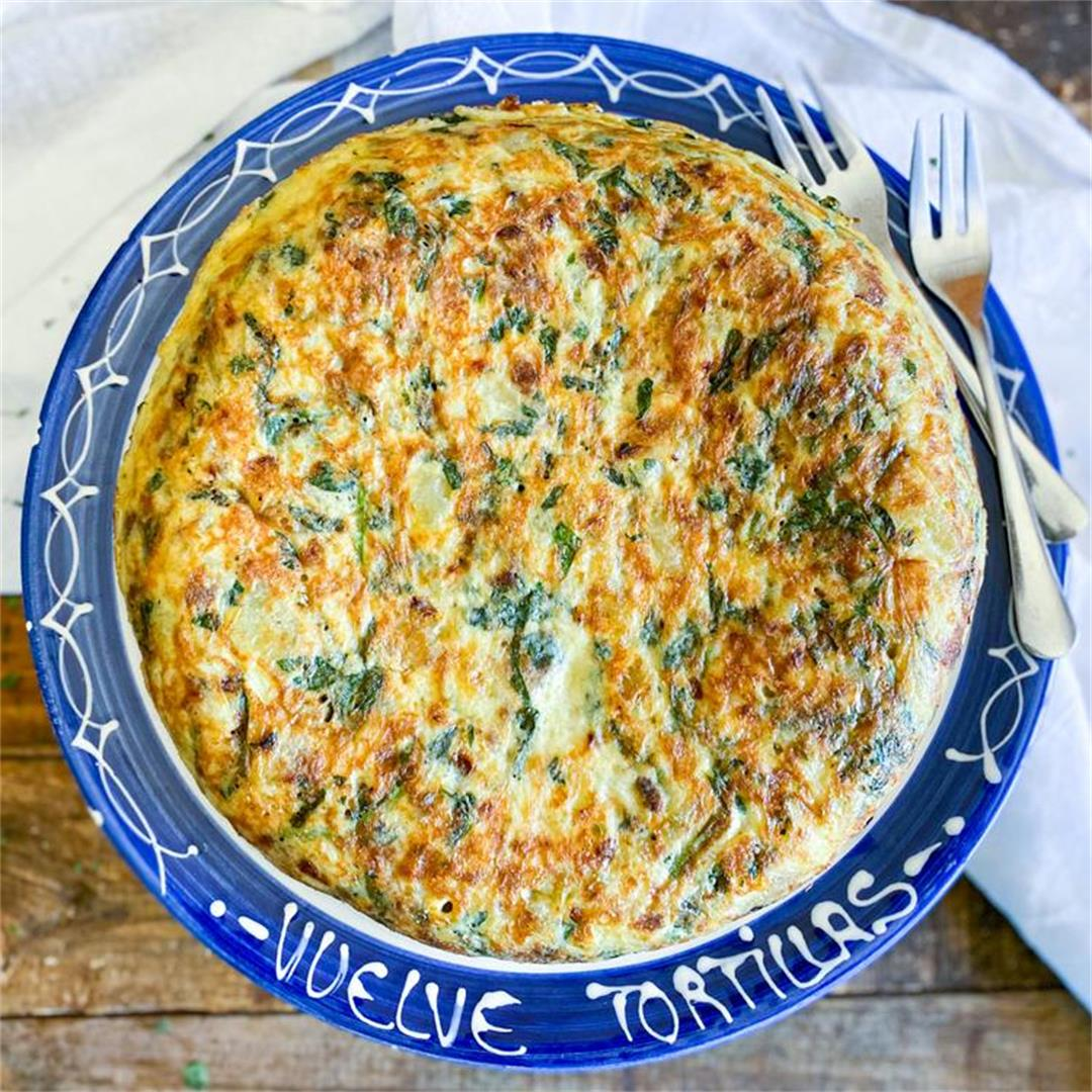 Spanish Potato Omelette with Spinach & Manchego Cheese