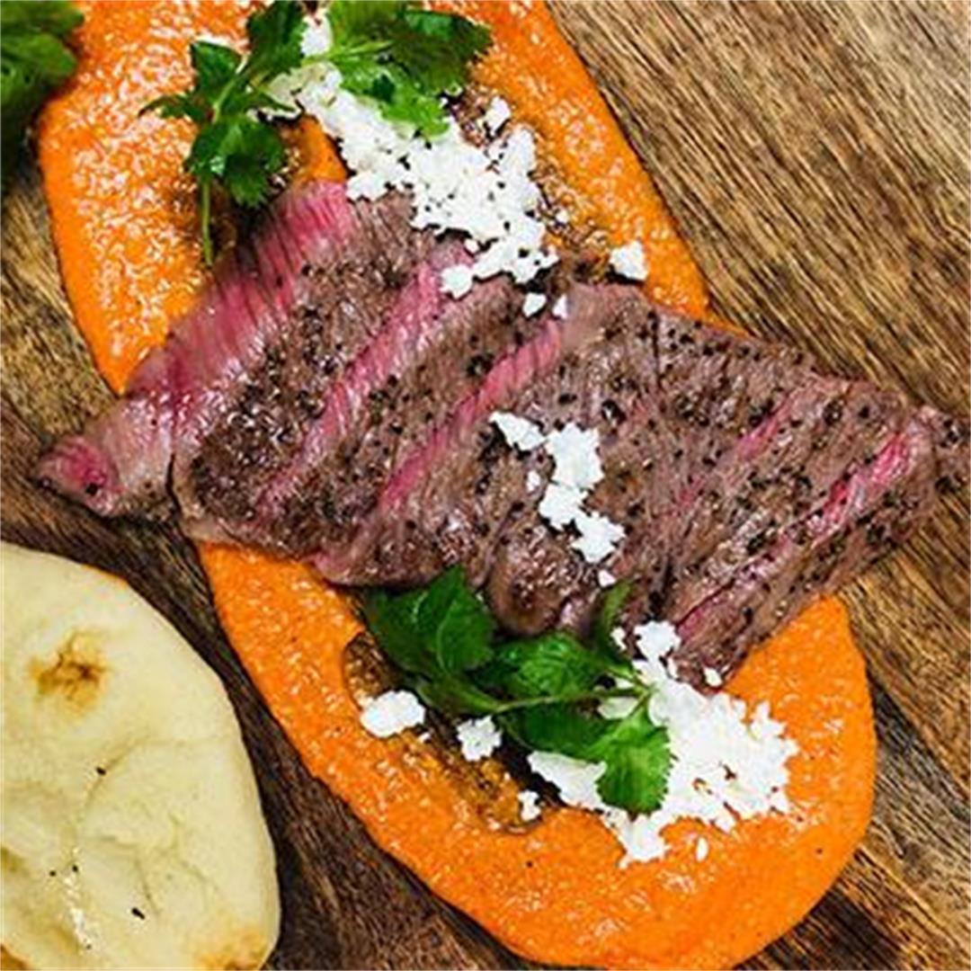 Miyazakigyu Wagyu Strip Steak with Romesco Sauce