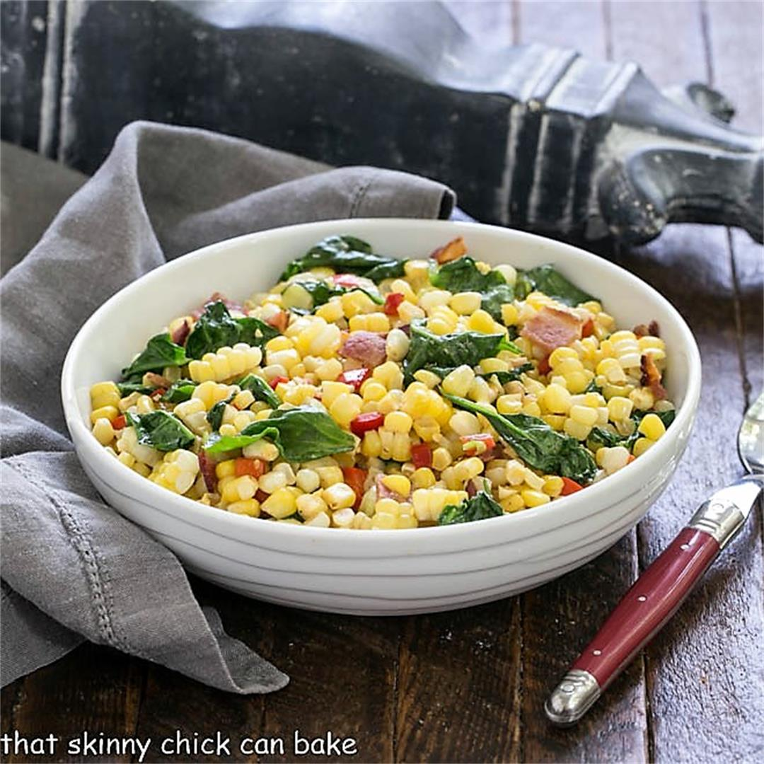 Skillet Corn with Spinach and Peppers