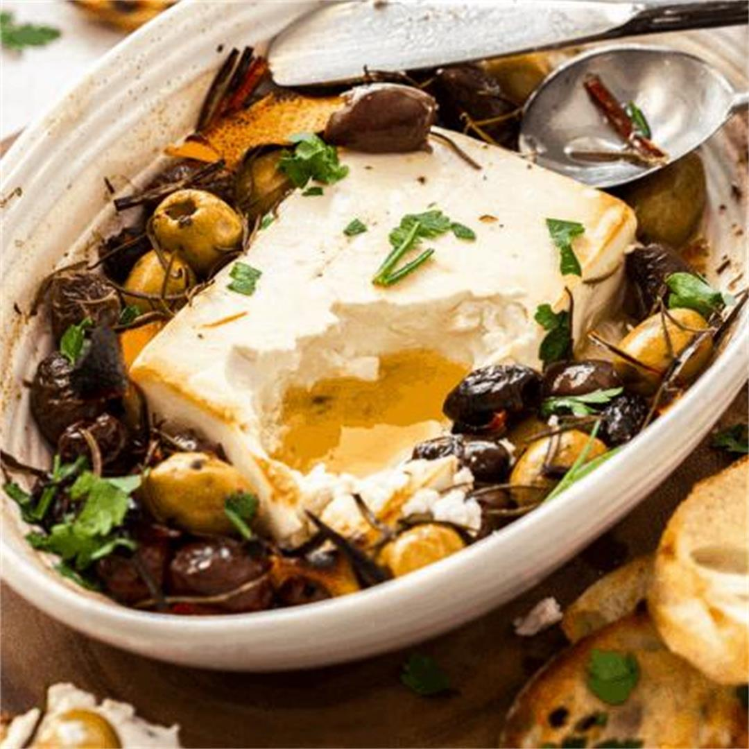 Baked Feta with Olives and Rosemary - It's Not Complicated Reci