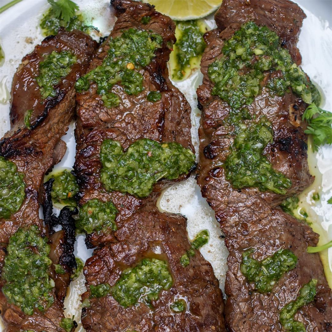 Grilled Steak Tips with Chimichurri