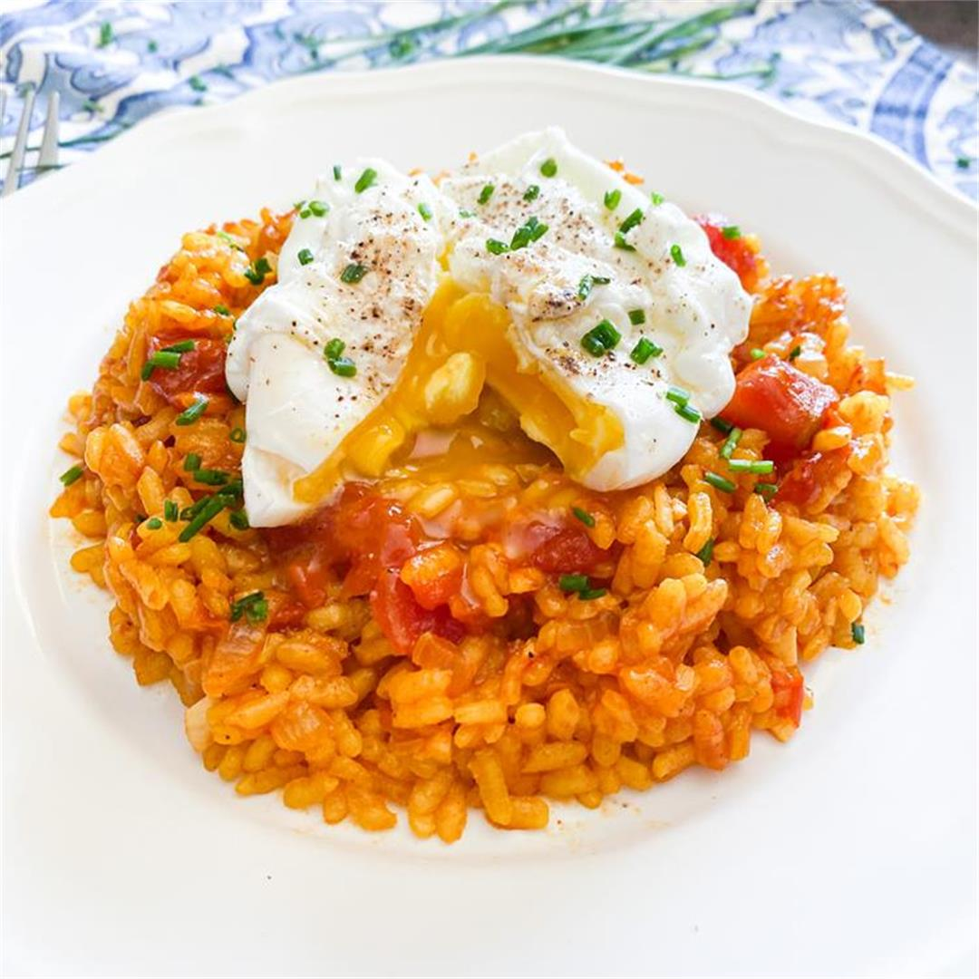 Spanish Tomato Rice with Poached Eggs