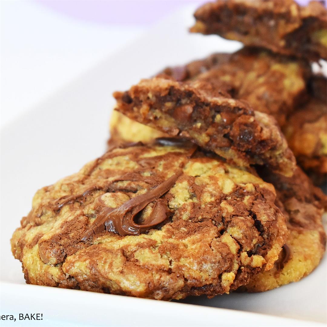 Nutella Swirl Bakery Style Cookies