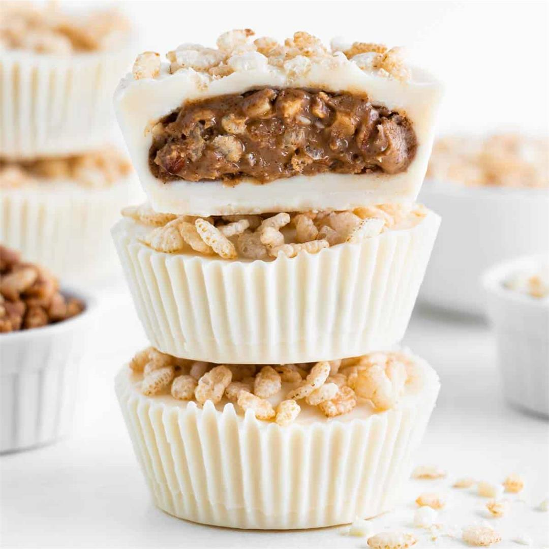 Crispy White Chocolate Almond Butter Cups
