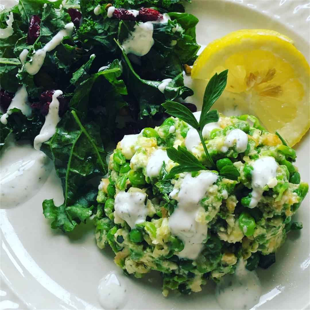 Pea, Chickpea, & Feta Mash with Kale Salad