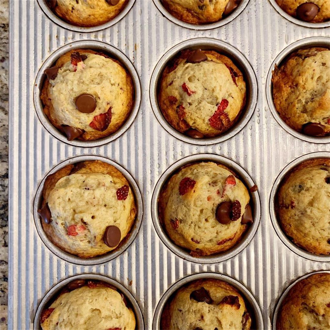 Strawberry Dark Chocolate Banana Muffins