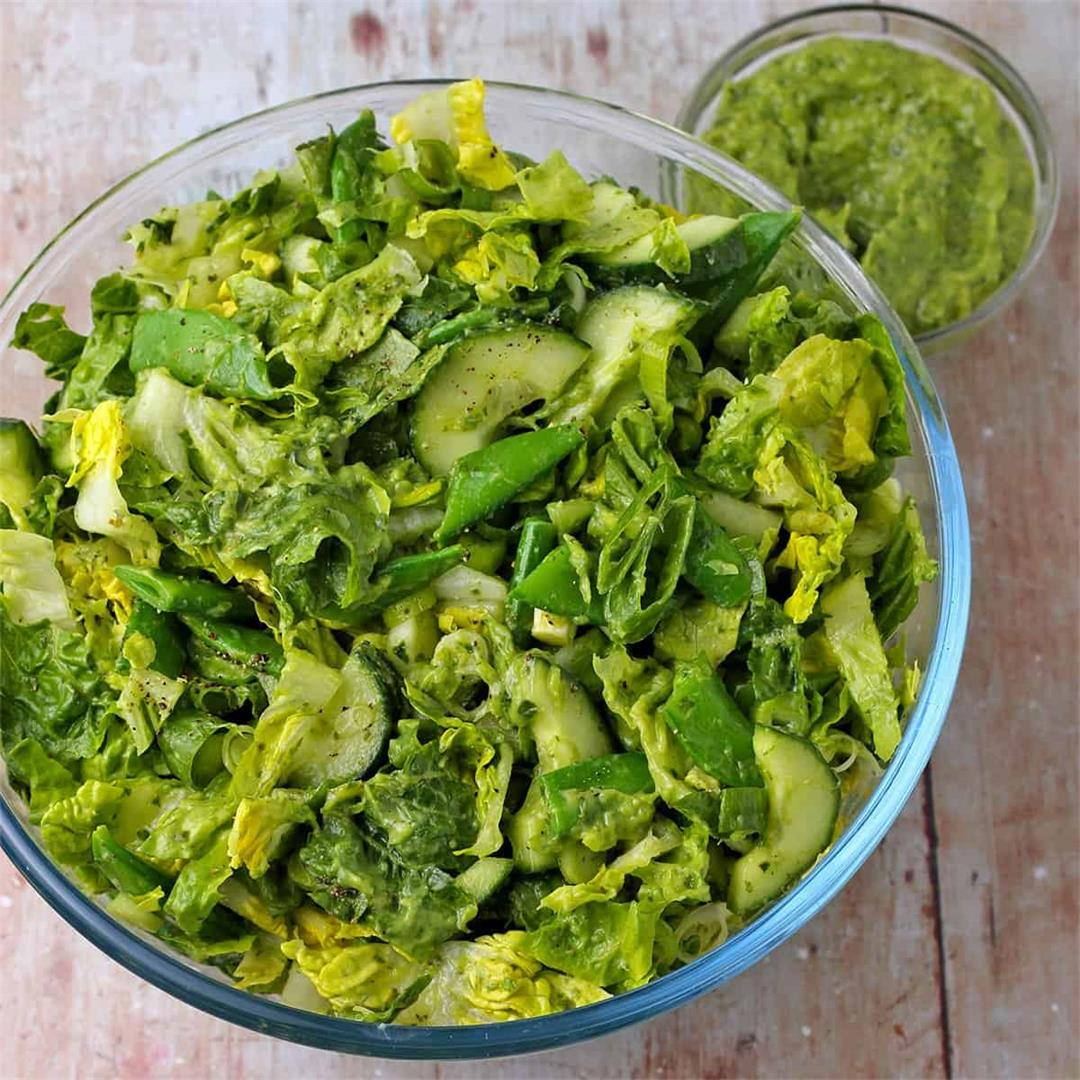 everything green salad with healthy green goddess dressing (dai