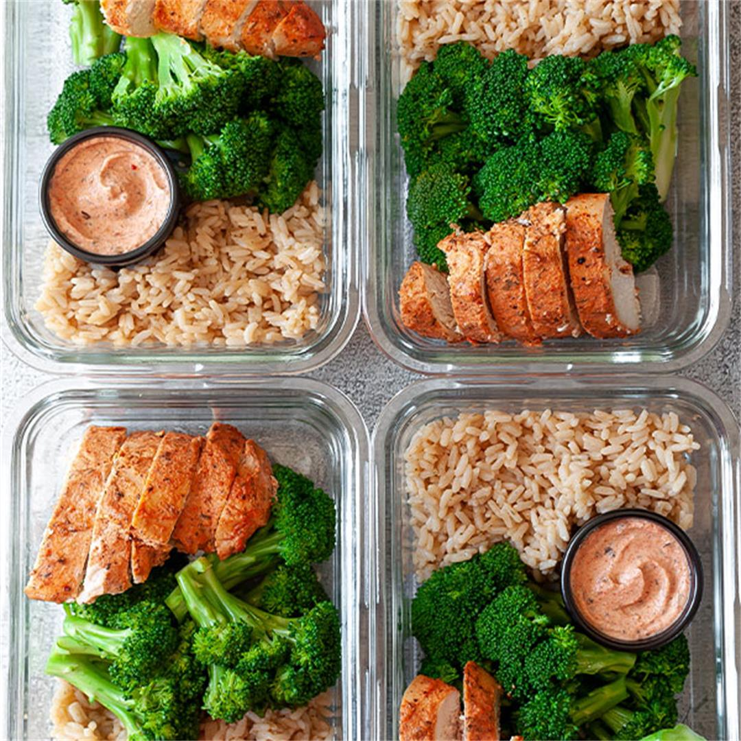 25 Minute Chicken and Rice Meal Prep with Broccoli - Key To My