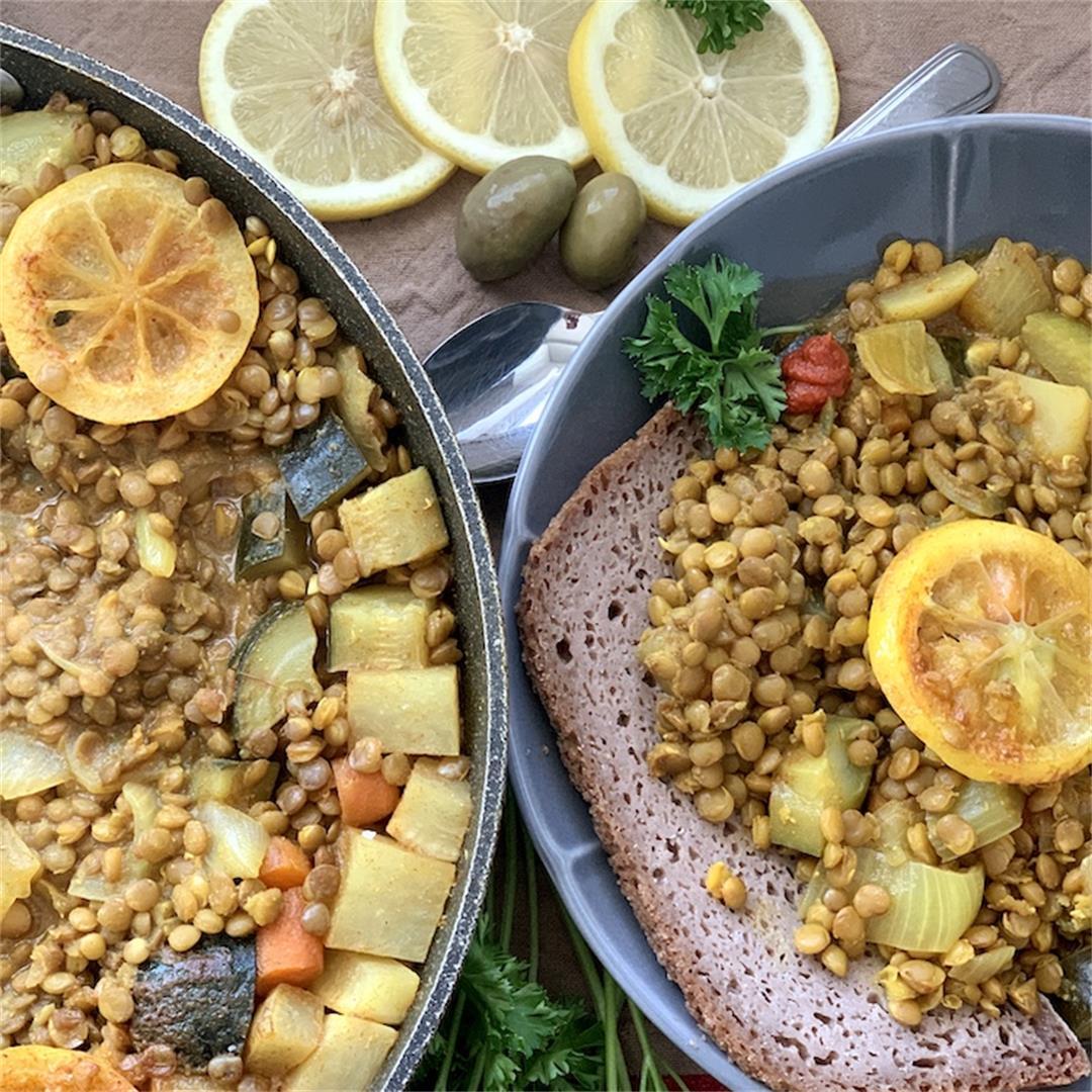 Marrakesh Inspired Brown Lentil Tagine