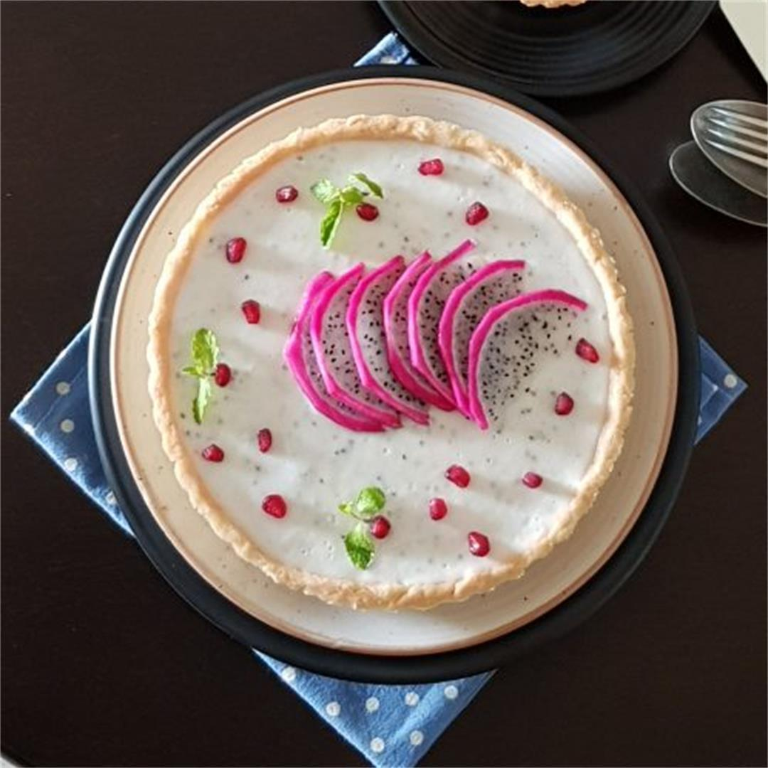Dragon Fruit Coconut Panna Cotta Tart