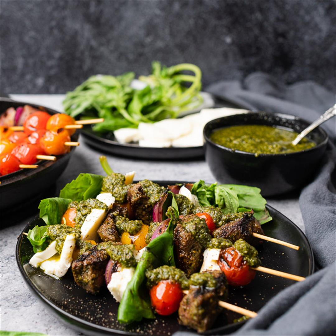 Top Sirloin Steak Caprese Skewers with Walnut Pesto