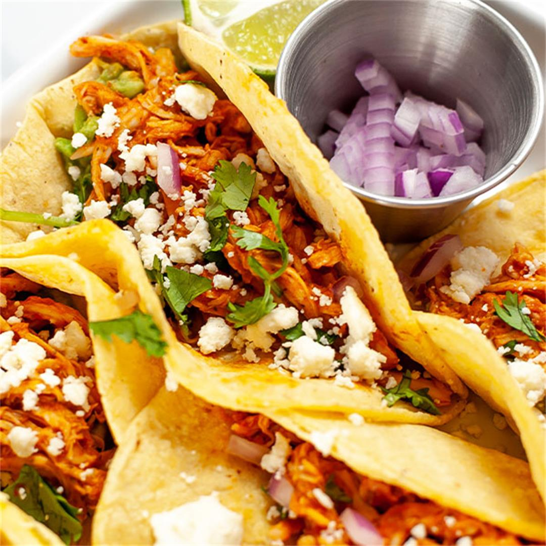 Chicken Tinga Tacos with Shredded Chicken - Key To My Lime