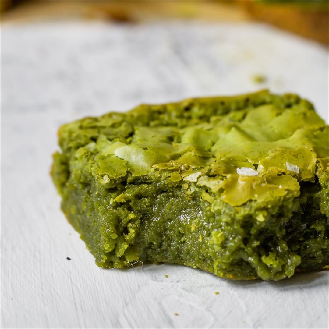 Fudgy Brown Butter Matcha Brownies