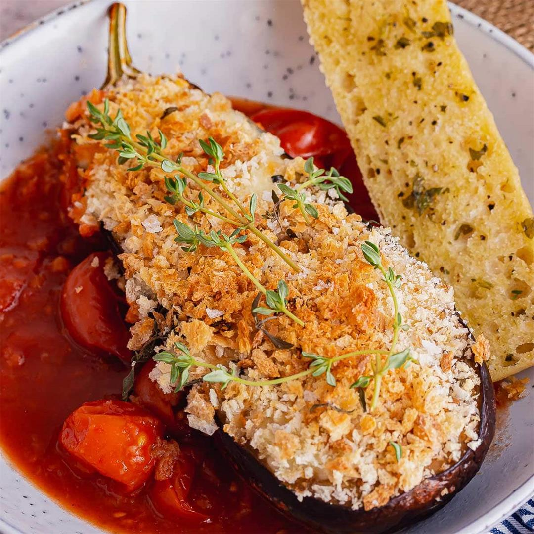 Cheesy Roasted Aubergine with Breadcrumbs