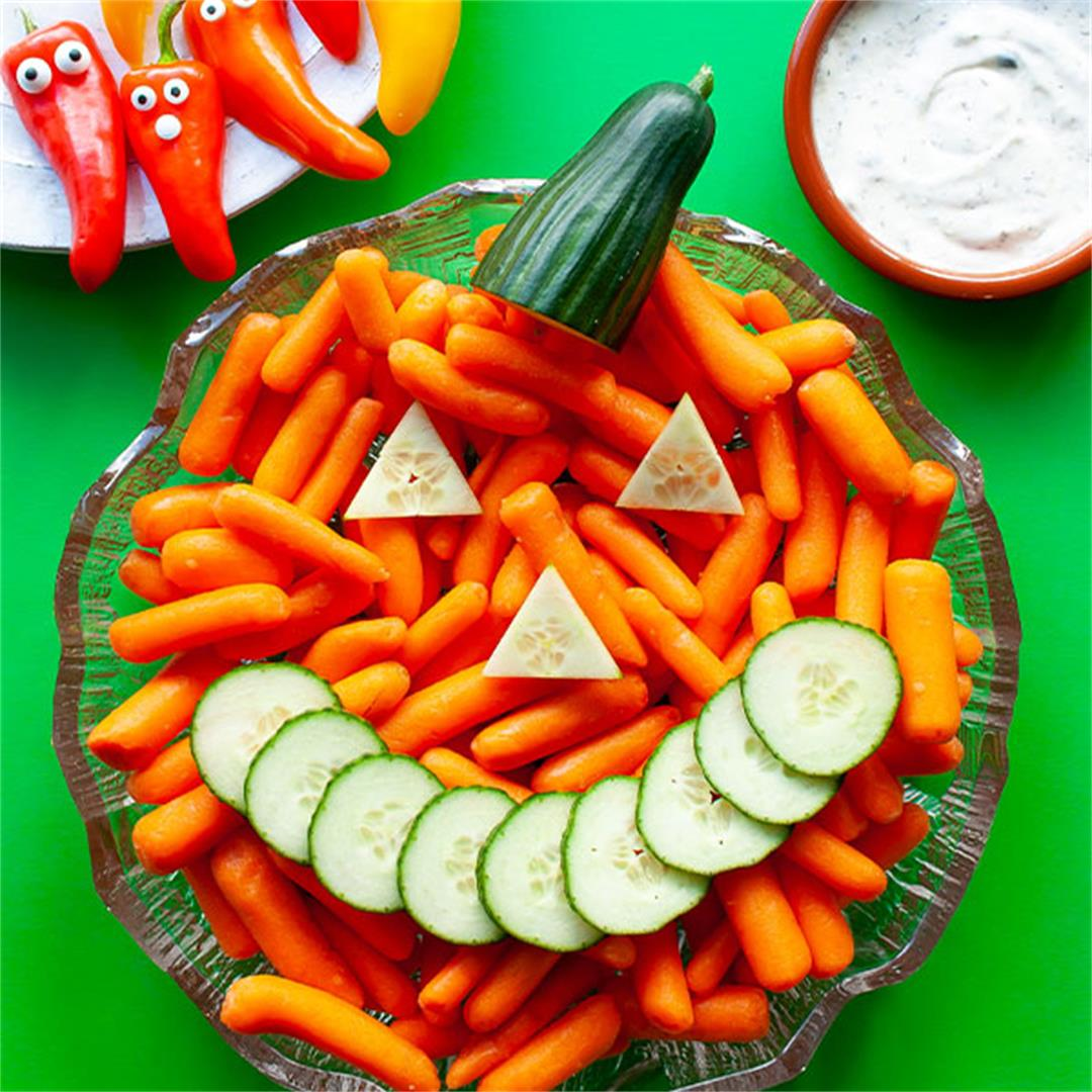 Halloween Veggie Tray with Pumpkin and Ghosts - Key To My Lime