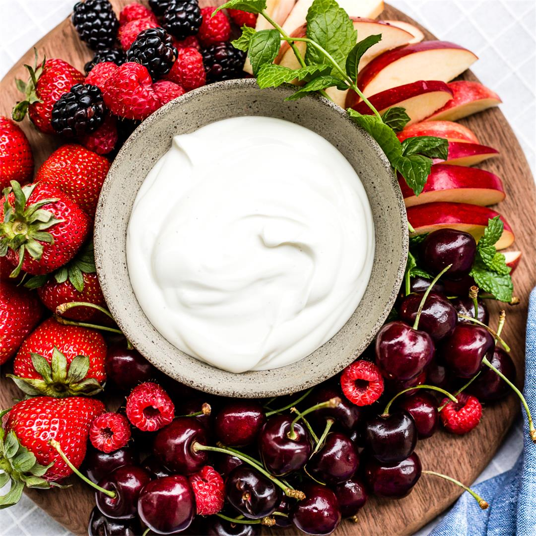 Easy Yogurt Fruit Dip Recipe (3 Ingredients only!)