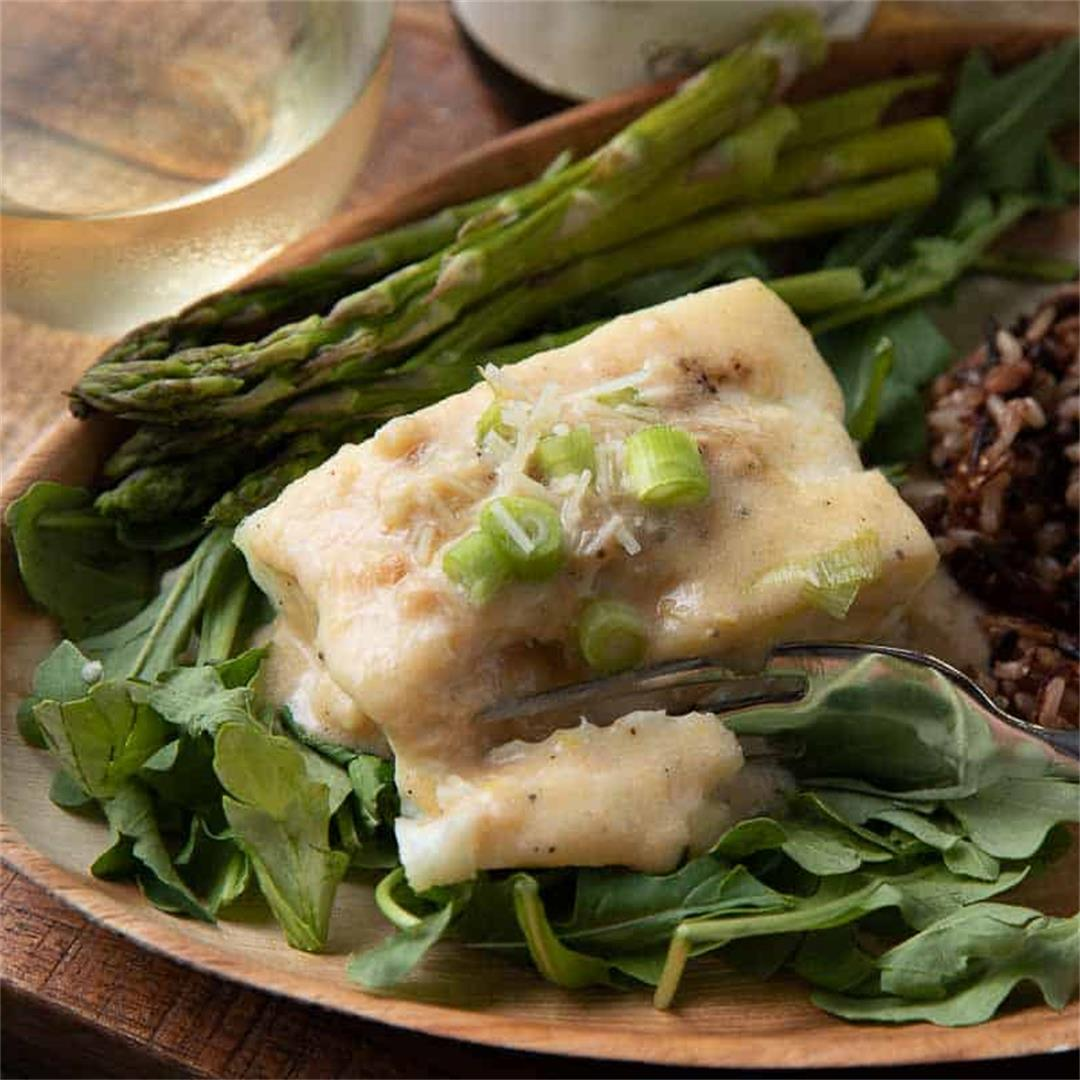 Easy Air Fryer Halibut with Creamy Parmesan Sauce