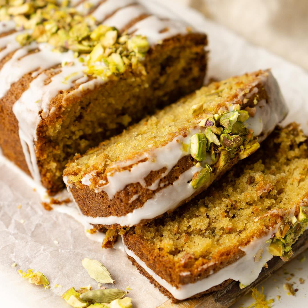Pistachio Cardamom and Lemon Loaf Cake