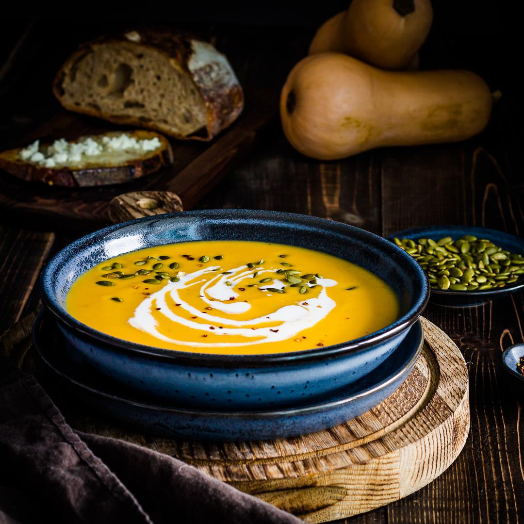 Roasted Butternut Squash Soup with Feta Honey Toast