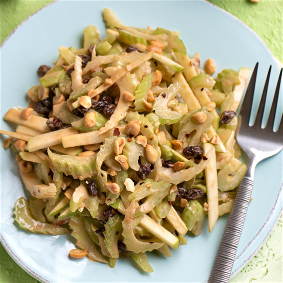 Ants Off a Log Salad (Celery Slaw)