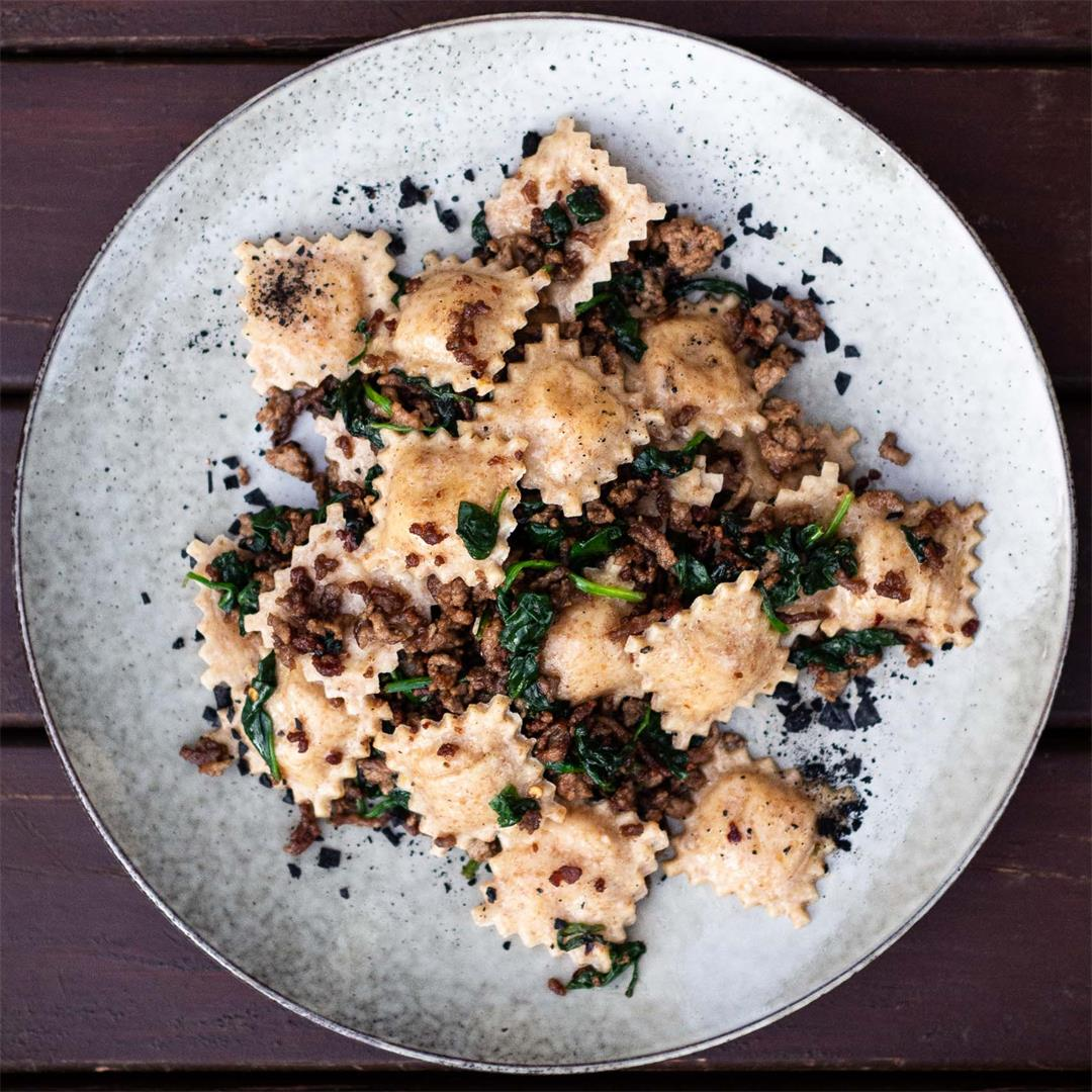 Rye and Pumpkin Ravioli with Lamb and Spinach