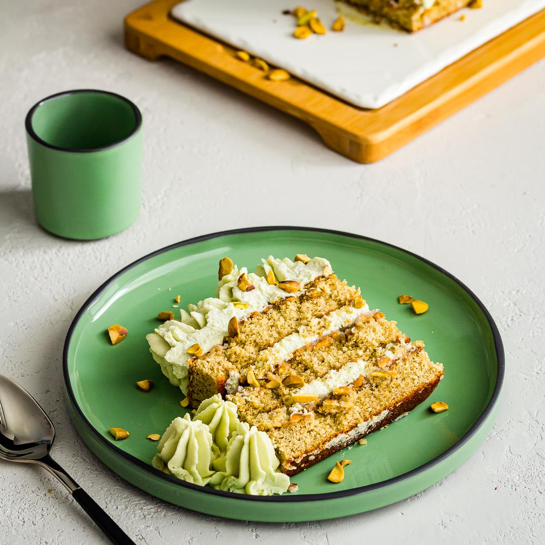 Pistachio Tiramisu Cake w/ Mascarpone Cream & Cardamom Syrup