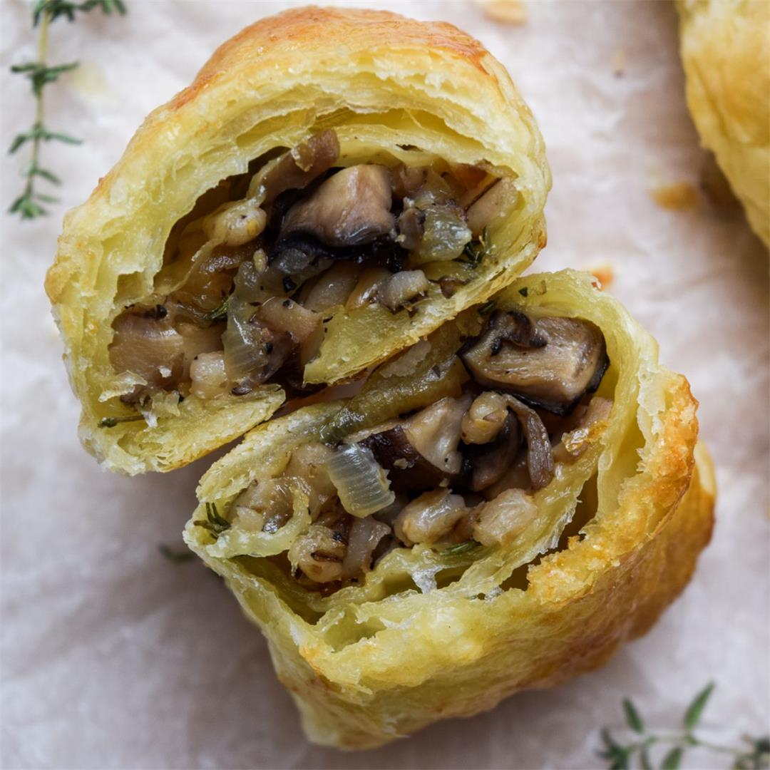 Mushroom & Pearl Barley 'Sausage' Rolls (Vegan Option)