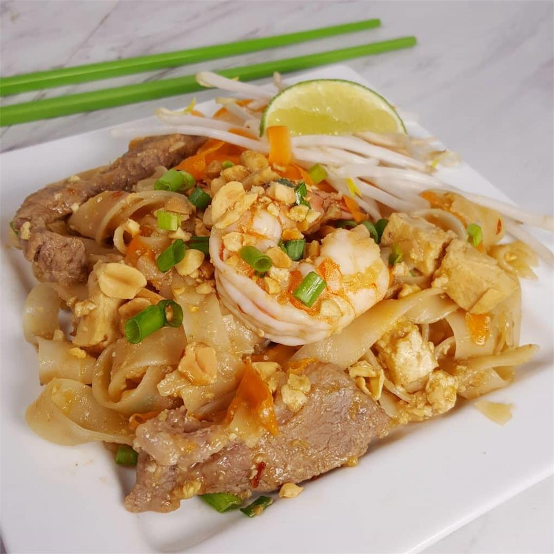 Pressure Cooker Pad Thai with Chicken, Pork, Beef and Shrimp