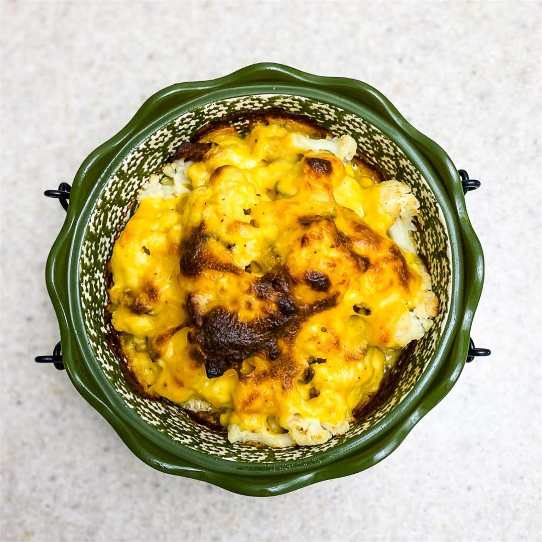 Baked Cheesy Cauliflower with Bacon