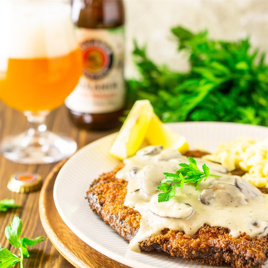 Beer-Brined Schnitzel With Creamy Mushroom Gravy