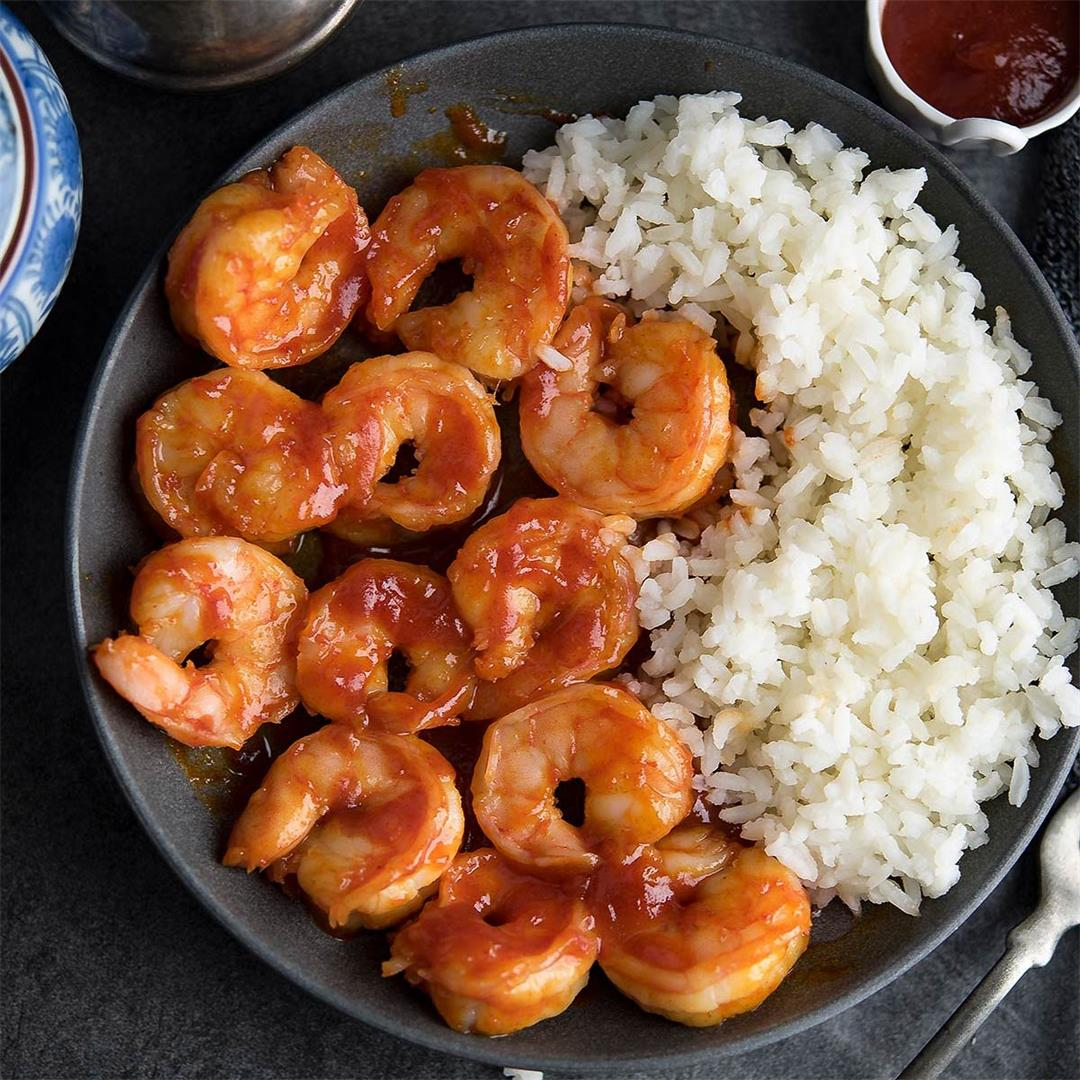 Honey Sriracha shrimp