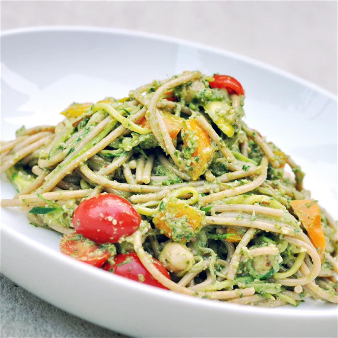 Basil Pesto Pasta with Zucchini Noodles, Chickpeas, and Veggies