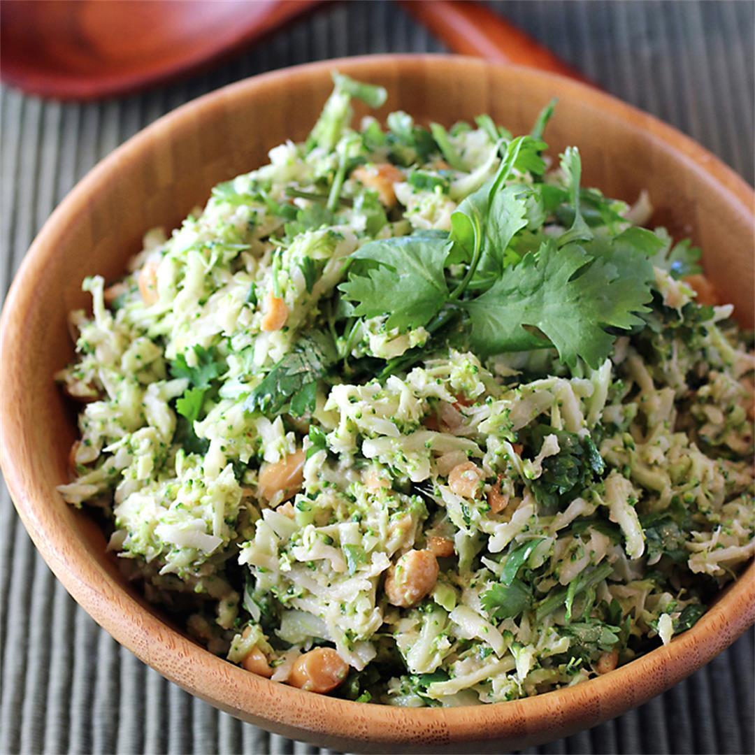 Broccoli salad with peanuts and tahini-lime dressing