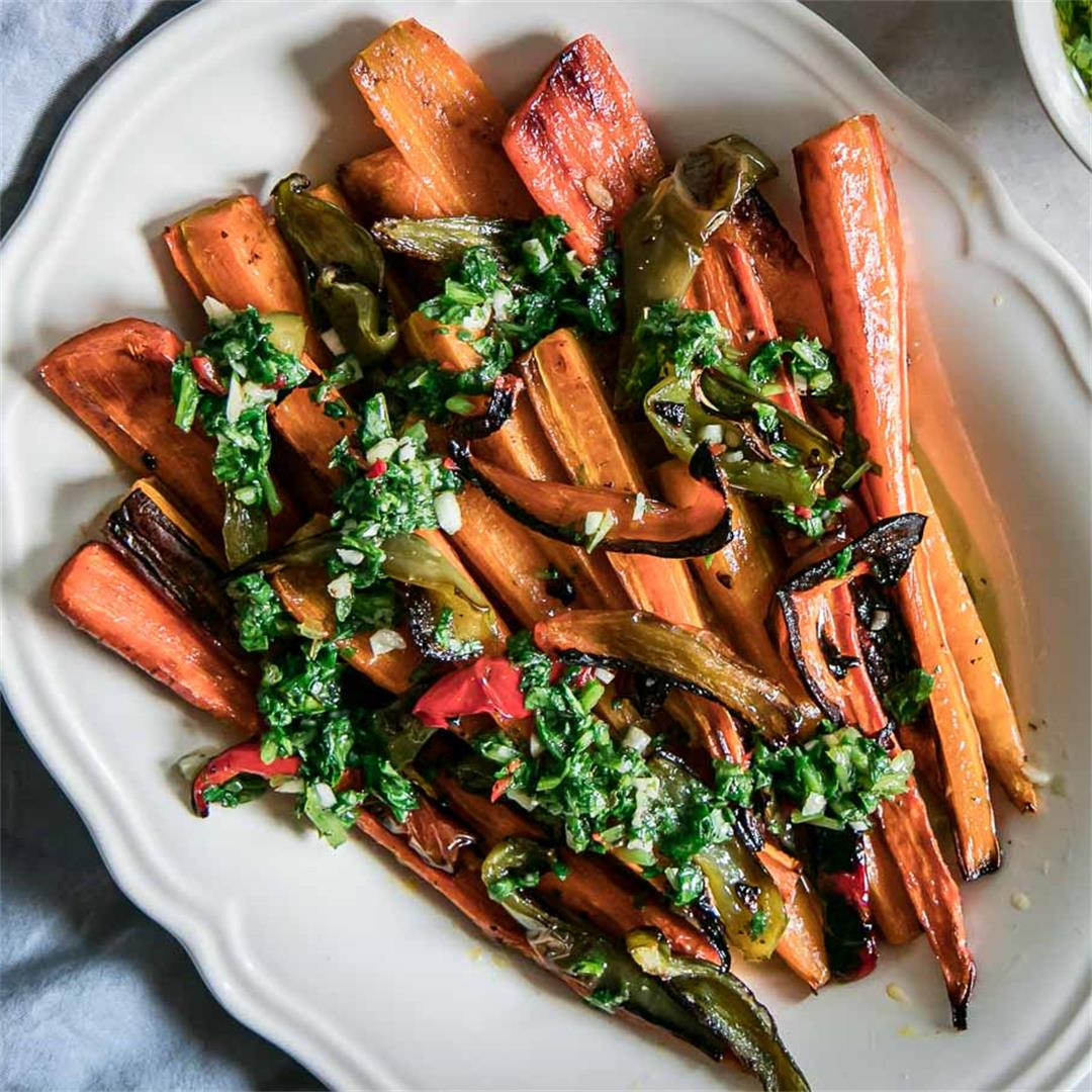Roasted Carrots and Bell Peppers