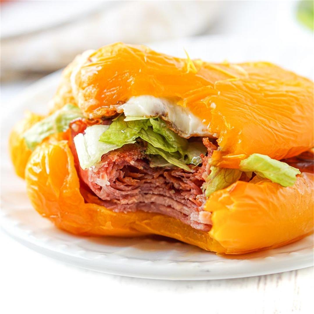 Keto Italian Sub Bell Pepper Sandwich in the Air Fryer