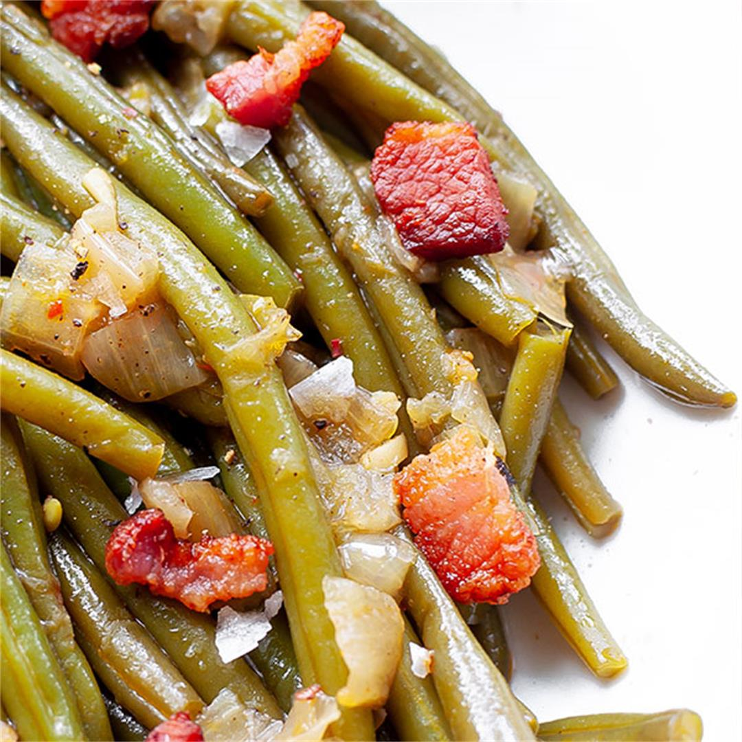 Southern Green Beans (Seasoned Green Beans with Bacon) - Key To