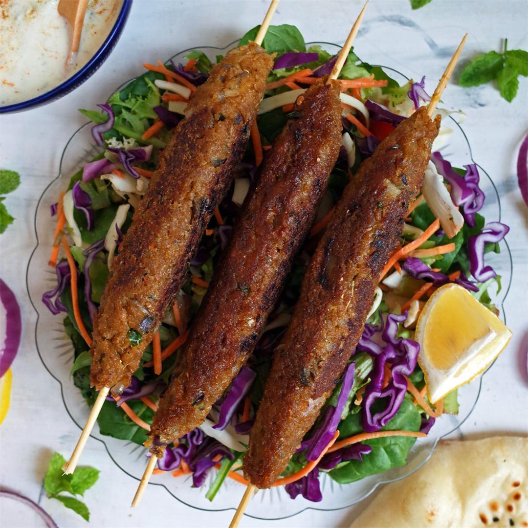 Vegan Seekh Kebabs made from Soya Chunks