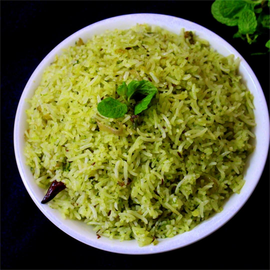 pudina rice recipe, mint rice recipe