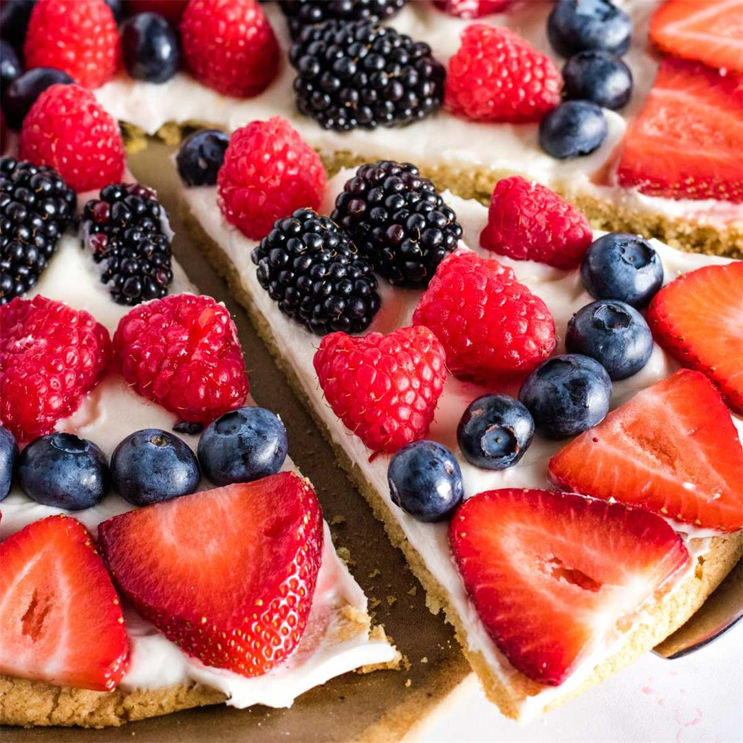 Sugar Cookie Fruit Pizza (with Summer Berries)