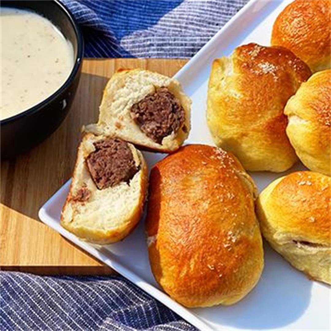 Fullblood Wagyu Bratwurst-Stuffed Pretzel Bombs