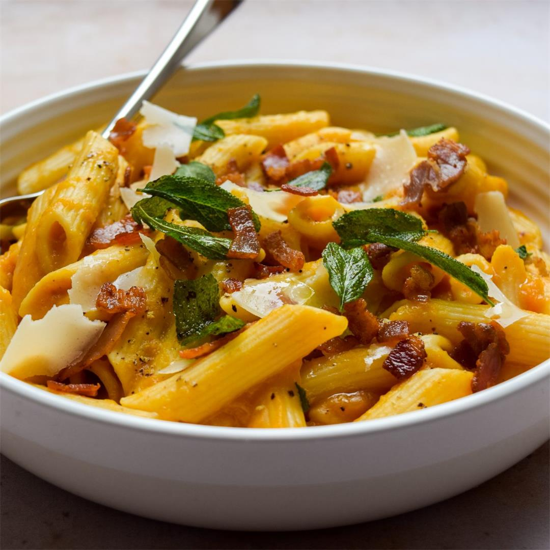 Creamy Squash Pasta with Crispy Bacon & Sage