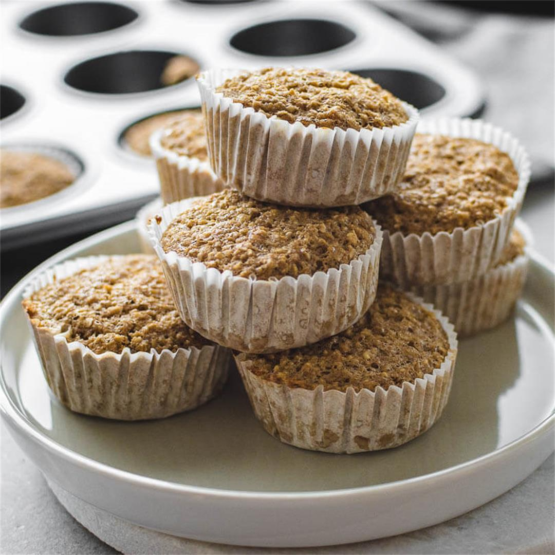 Oat bran banana muffins (Vegan and Gluten-Free)