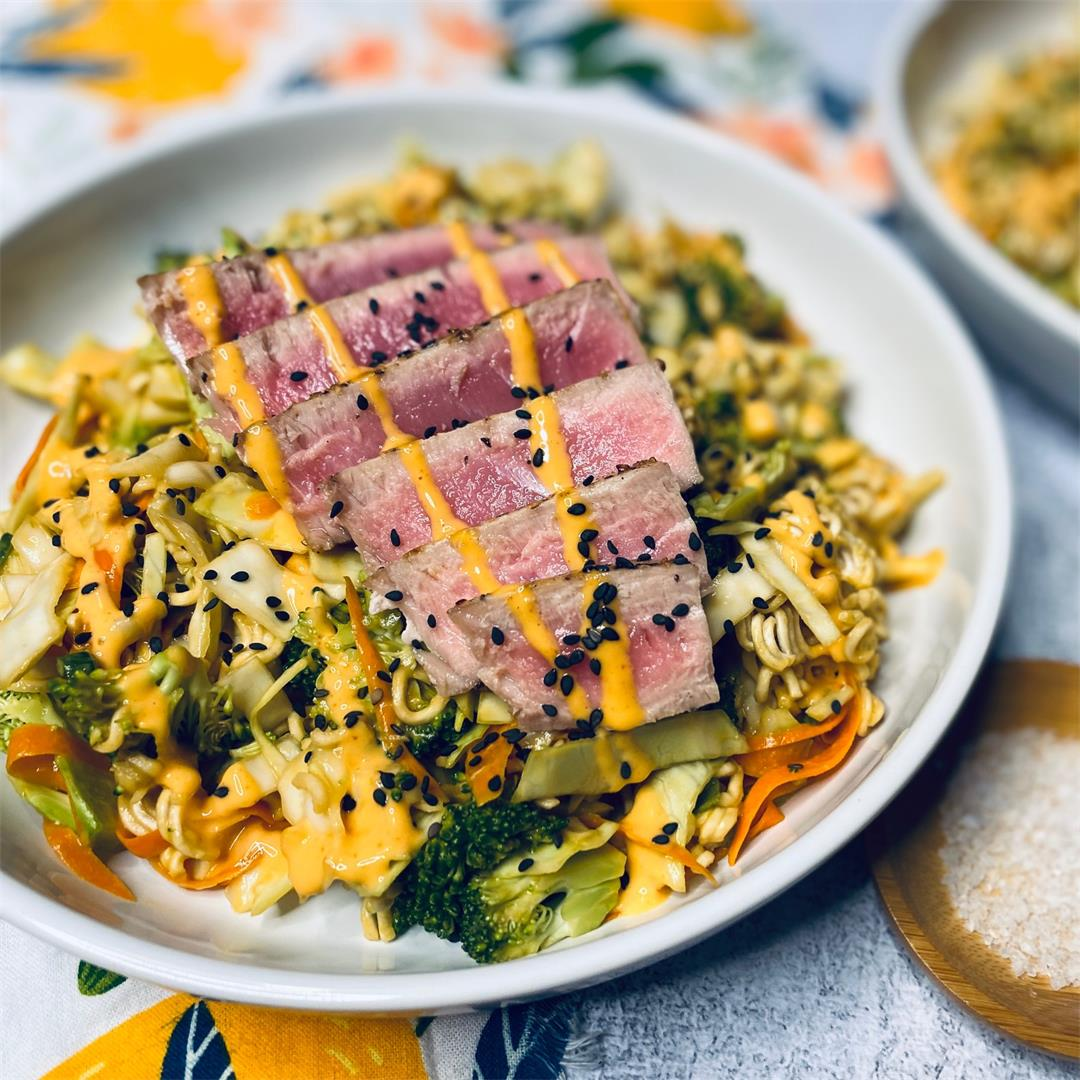 Tuna Salad with Crunchy Ramen Noodles