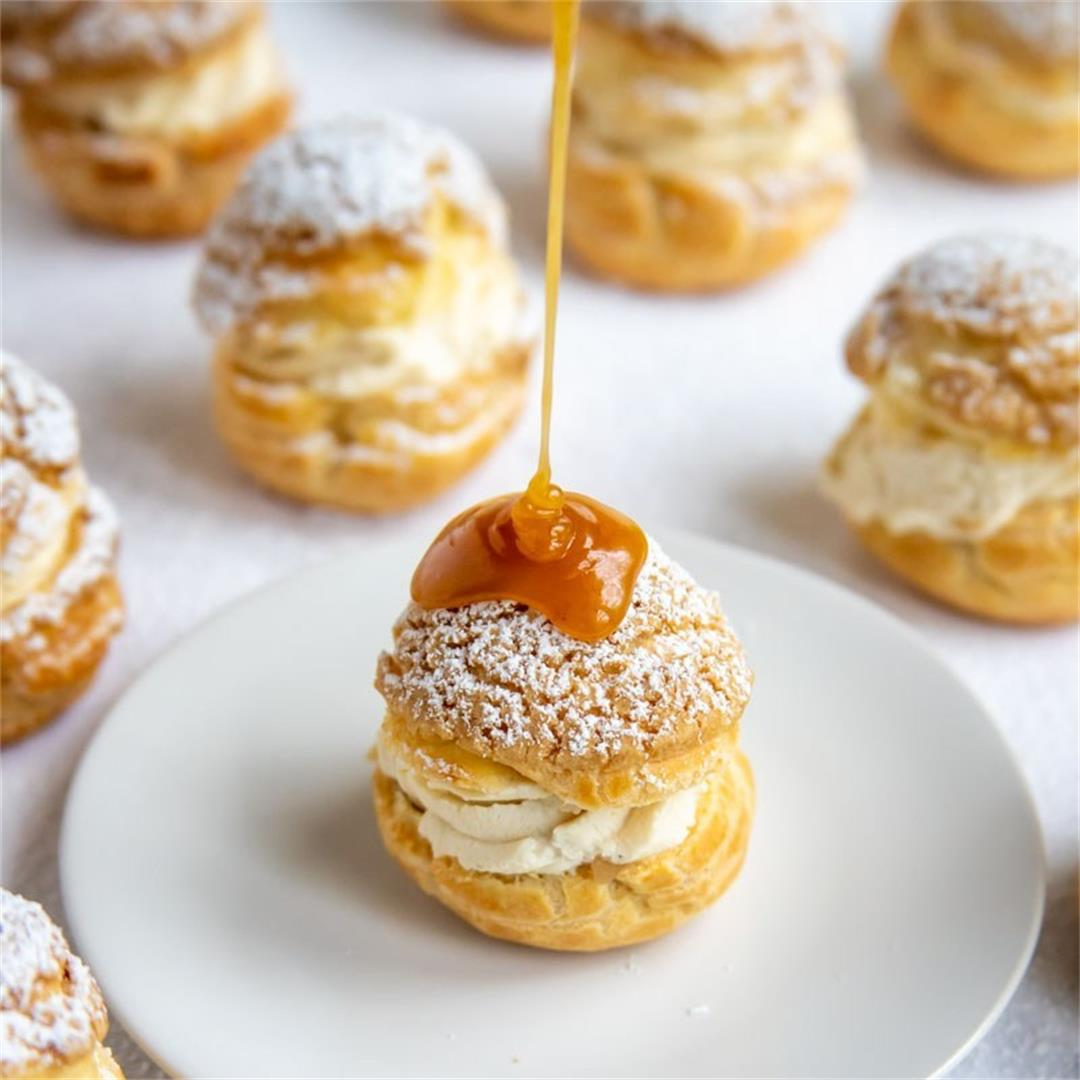 Craquelin Choux Buns with Apple Compote