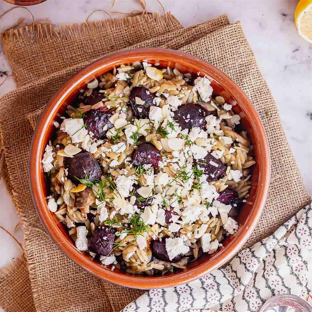 Mushroom Orzo with Beetroot & Feta