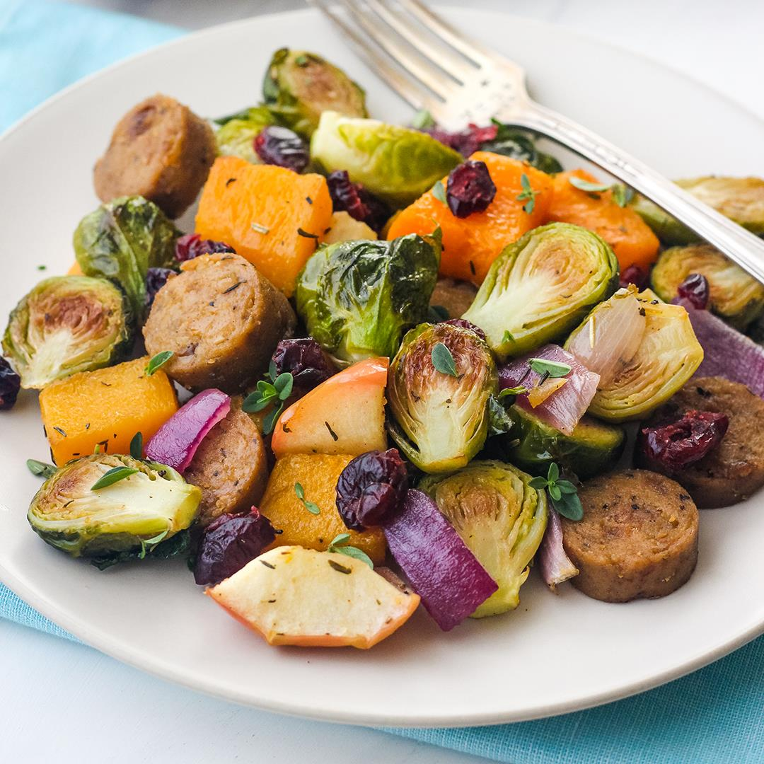 Vegetarian Sausage Sheet Pan Dinner For Two
