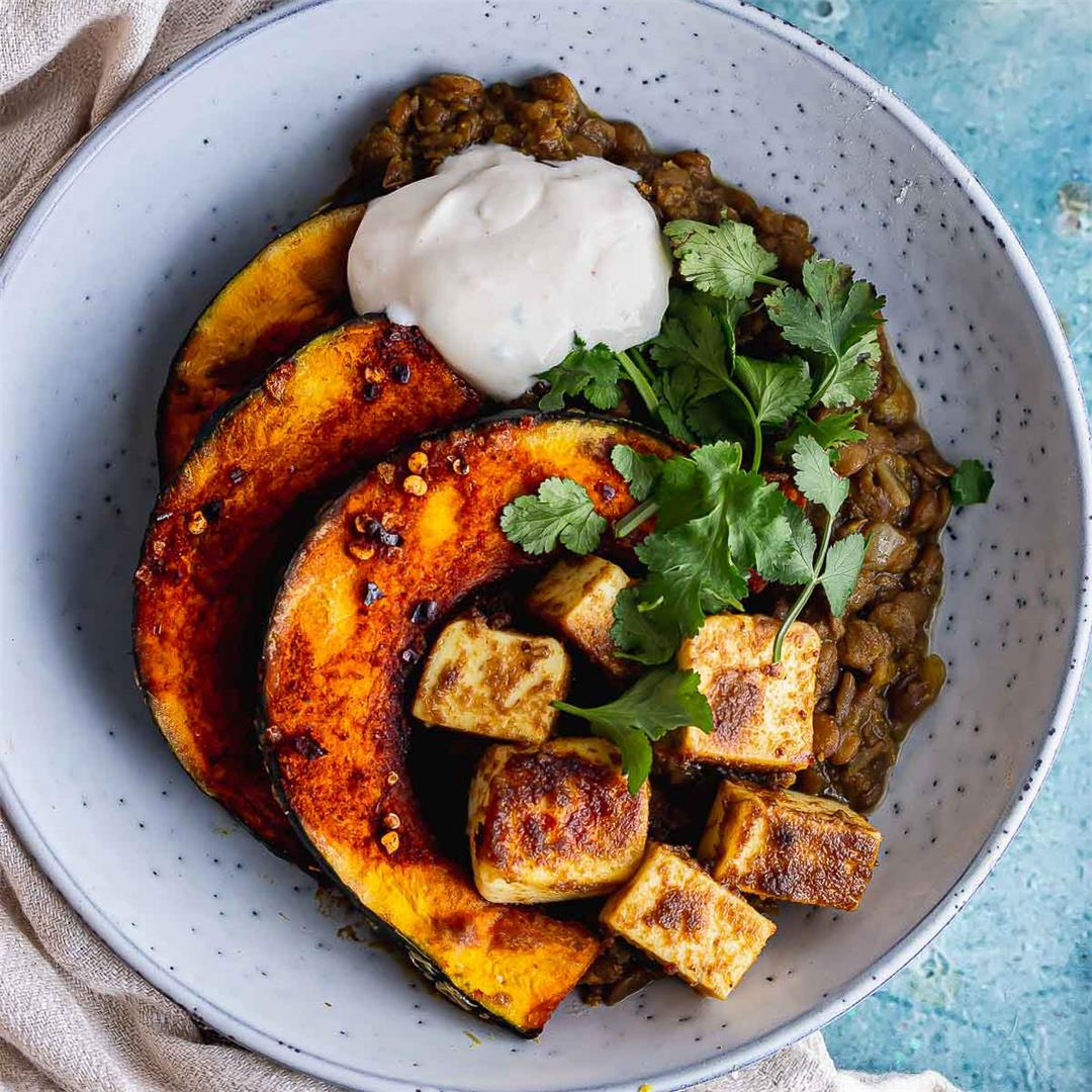 Spicy Lentils with Paneer and Caramelised Squash