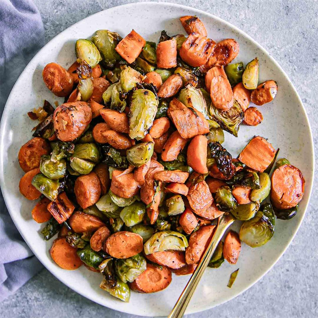 Roasted Carrots and Brussels Sprouts