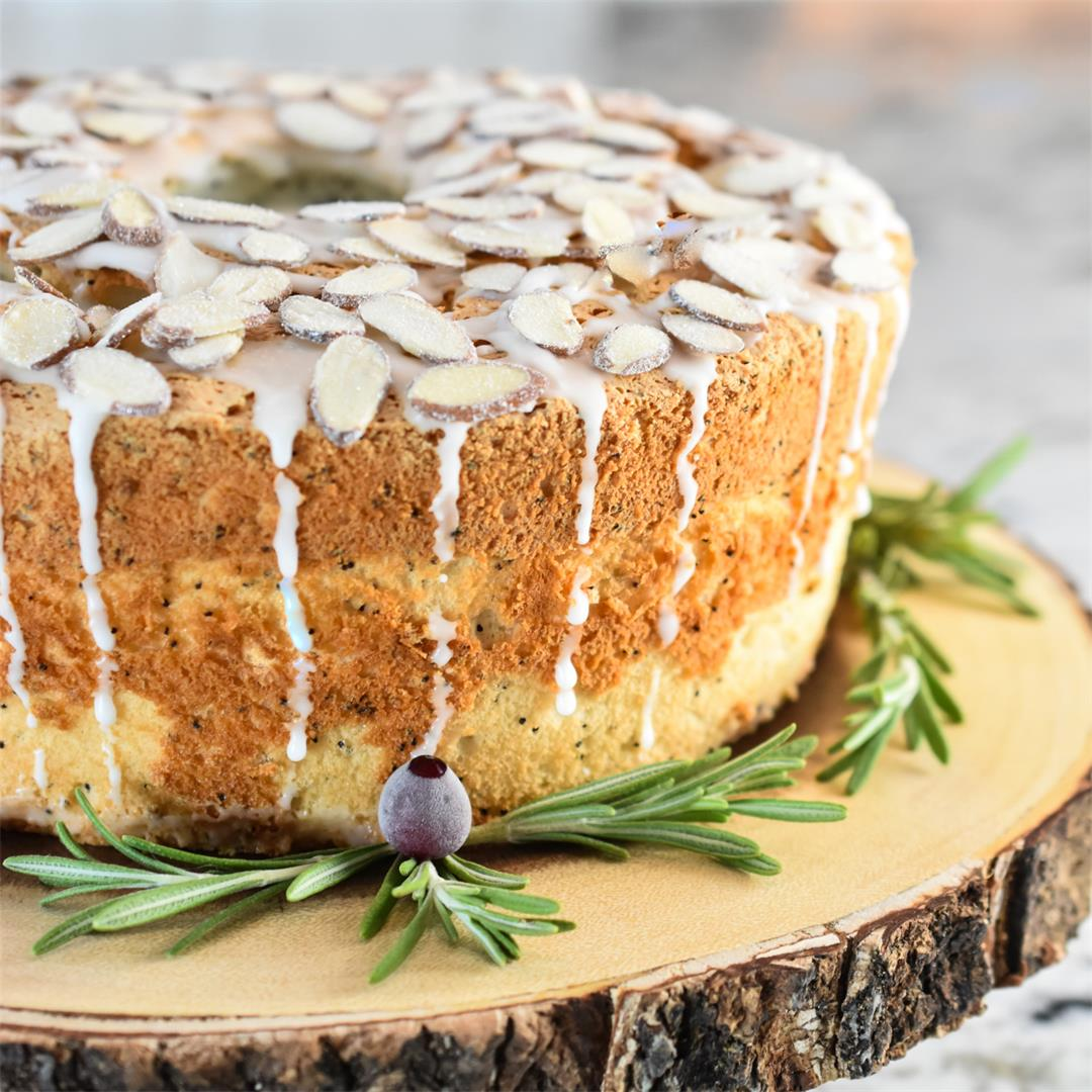 Poppy Seed Angel Food Cake with Almonds